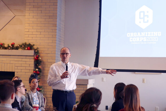 Democratic National Committee Chairman Tom Perez speaks to student organizers receiving training to work on the presidential campaign on Thursday, Jan. 16, 2019, in Madison, Wis. Perez told the students they will be the key to defeating President Donald Trump this year. (AP Photo by Scott Bauer)
