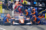 Scott Dixon pits during the IndyCar auto race at World Wide Technology Raceway on Saturday, Aug. 29, 2020, in Madison, Ill. (AP Photo/Jeff Roberson)