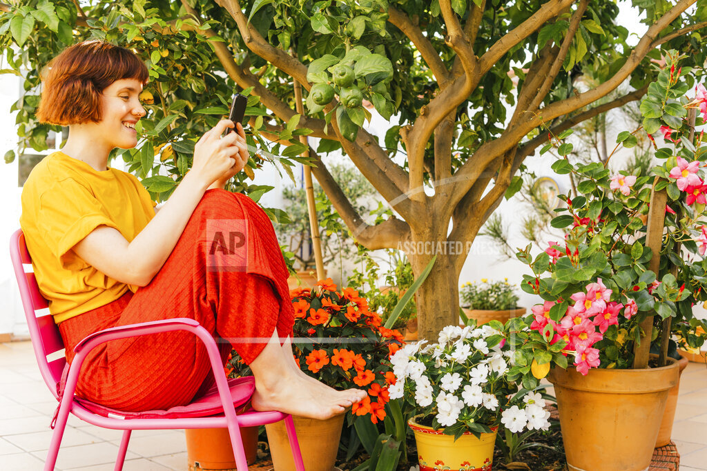 Smiling mid adult woman using mobile phone on chair in backyard