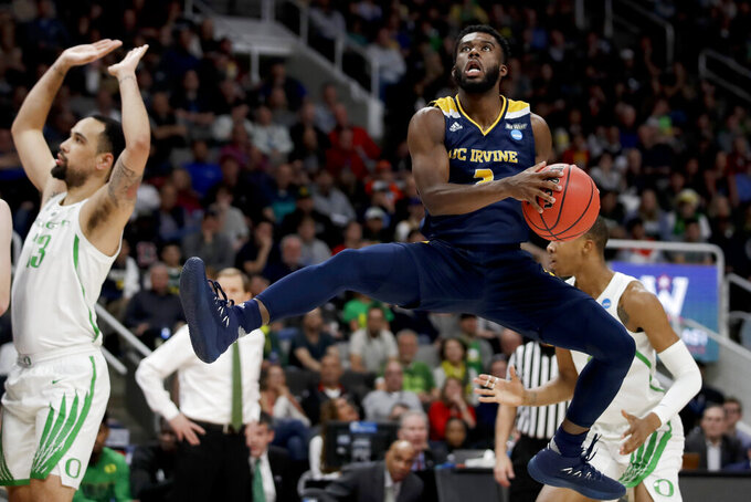 UC Irvine guard Max Hazzard looks to shoot against Oregon during the first half of a second-round game in the NCAA men's college basketball tournament Sunday, March 24, 2019, in San Jose, Calif. (AP Photo/Ben Margot)