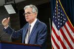 Federal Reserve Chair Jerome Powell speaks during a news conference, Tuesday, March 3, 2020, to discuss an announcement from the Federal Open Market Committee, in Washington. In a surprise move, the Federal Reserve cut its benchmark interest rate by a sizable half-percentage point in an effort to support the economy in the face of the spreading coronavirus. Chairman Jerome Powell noted that the coronavirus