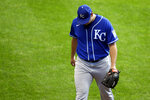 Kansas City Royals' Brad Keller walks to the dugout after being removed from the game during the sixth inning of a baseball game against the Milwaukee Brewers Sunday, Sept. 20, 2020, in Milwaukee. (AP Photo/Aaron Gash)