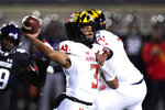 Maryland quarterback Taulia Tagovailoa throws a pass during the first half of an NCAA college football game against Northwestern in Evanston, Ill., Saturday, Oct. 24, 2020. (AP Photo/Nam Y. Huh)