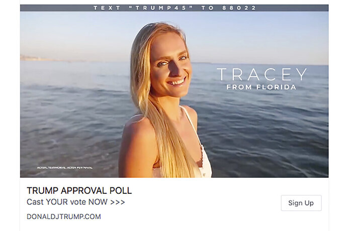 """This frame from a series of Facebook video ads for President Donald Trump's re-election campaign shows a model portraying an actual Trump supporter. The people in the videos are all models in stock video footage produced far from the U.S. in France, Brazil and Turkey, and available to anyone online for a fee. Bottom left of the frame reads: """"actual testimonial, actor portrayal."""" (Trump Make America Great Again Committee via AP)"""