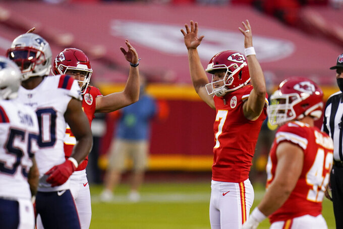 Kansas City Chiefs place kicker Harrison Butker (7) celebrates after kicking a 39-yard field goal during the first half of an NFL football game against the New England Patriots, Monday, Oct. 5, 2020, in Kansas City. (AP Photo/Jeff Roberson)