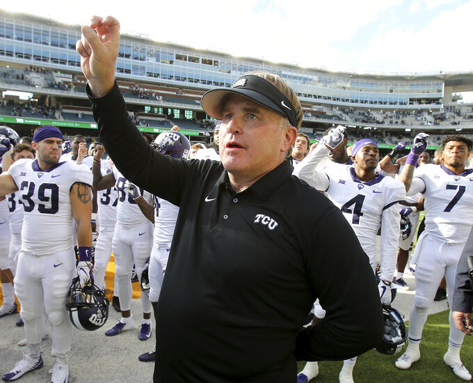 TCU head coach Gary Patterson celebrates the win against Baylor in an NCAA college football game Saturday, Nov. 17, 2018. (Jerry Larson/Waco Tribune-Herald via AP)