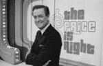 FILE - Television host Bob Barker appears on the set of his show, 'The Price is Right' in Los Angeles on July 25, 1985. The longest-running game show in television history is celebrating it's 50th season. (AP Photo/Lennox McLendon, File)
