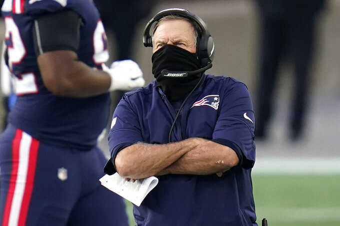 New England Patriots head coach Bill Belichick watches from the sideline in the first half of an NFL football game against the San Francisco 49ers, Sunday, Oct. 25, 2020, in Foxborough, Mass. (AP Photo/Charles Krupa)