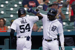 Detroit Tigers' Derek Hill (54) is greeted by teammate Akil Baddoo after a solo home run during the third inning of a baseball game against the Minnesota Twins, Monday, Aug. 30, 2021, in Detroit. (AP Photo/Carlos Osorio)