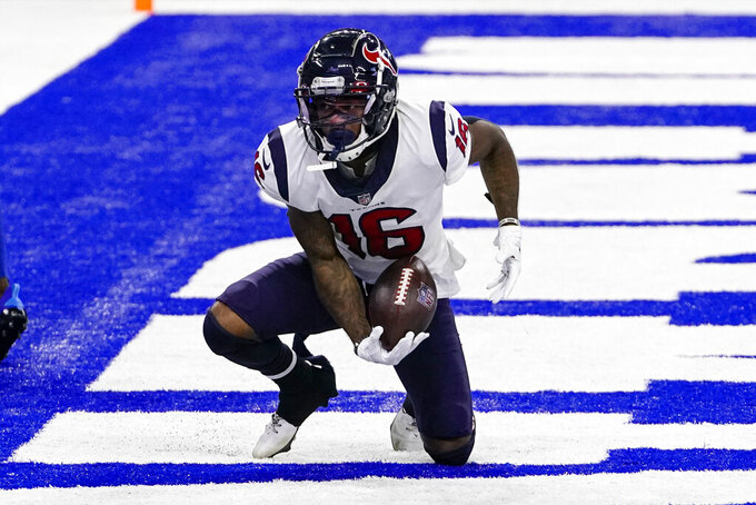 Houston Texans wide receiver Keke Coutee (16) scores a touchdown against the Indianapolis Colts in the second half of an NFL football game in Indianapolis, Sunday, Dec. 20, 2020. (AP Photo/AJ Mast)