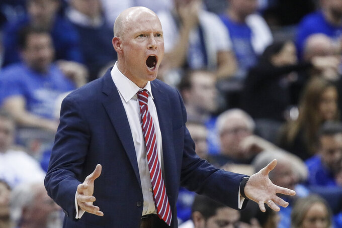 Seton Hall head coach Kevin Willard reacts during the first half of an NCAA college basketball game against Villanova, Wednesday, March 4, 2020, in Newark, N.J. (AP Photo/John Minchillo)