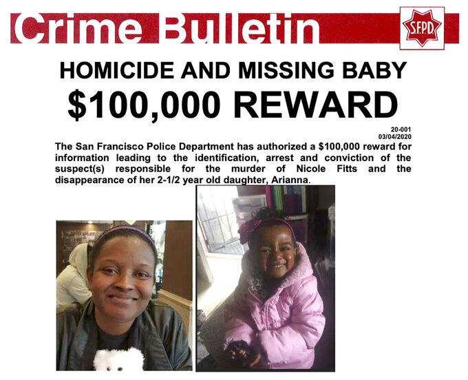 This bulletin provided by the San Francisco Police Department and being distributed by FBI San Francisco, and FBI Los Angeles shows Nicole Fitts, left, and her daughter Arianna. Five years after then-2-year-old Arianna vanished and her mother was found slain, San Francisco police, on Thursday, April 8, 2021, offered a $100,000 reward in hopes of finding the child, who would now be grade-school age. (San Francisco Police Department via AP)