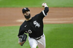 Chicago White Sox starting pitcher Dallas Keuchel throws to a Milwaukee Brewers batter during the first inning of a baseball game in Chicago, Wednesday, Aug. 5, 2020. (AP Photo/Nam Y. Huh)