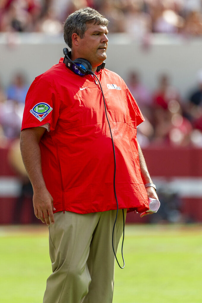 Mississippi head coach Matt Luke looks on after a referee's call during the first half of an NCAA college football game against Alabama, Saturday, Sept. 28, 2019, in Tuscaloosa, Ala. (AP Photo/Vasha Hunt)