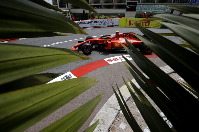 Ferrari driver Charles Leclerc of Monaco steers his car during the third free practice at the Monaco racetrack, in Monaco, Saturday, May 25, 2019. The Formula one race will be held on Sunday. (AP Photo/Luca Bruno)