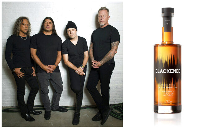 This combination photo shows, members of the heavy metal band Metallica, from left, Kirk Hammett, Robert Trujillo, Lars Ulrich and James Hetfield and their whiskey brand, Blackened American Whiskey. Celebrities are deep into the liquor and wine business with their own brands that are particularly gifty for drink-loving fans. (AP Photo, left, and Blackened American Whiskey via AP)