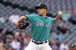 Seattle Mariners starting pitcher Marco Gonzales throws against the Minnesota Twins during the first inning of a baseball game Friday, May 17, 2019, in Seattle. (AP Photo/Elaine Thompson)