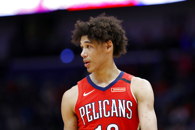 FILE - In this Jan. 6, 2020, file photo, New Orleans Pelicans center Jaxson Hayes looks on during an NBA basketball game in New Orleans. Hayes was arrested in Los Angeles after a struggle with officers who were responding to a report of a domestic dispute and had to use a Taser and other force before they could handcuff him, authorities said Thursday, July 29, 2021. (AP Photo/Tyler Kaufman, File)