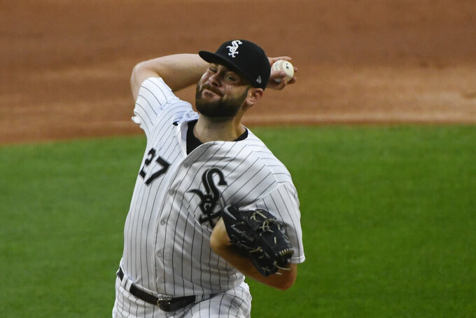 Chicago White Sox starting pitcher Lucas Giolito delivers during the first inning of a baseball game against the Pittsburgh Pirates, Tuesday, Aug. 25, 2020, in Chicago. (AP Photo/Matt Marton)