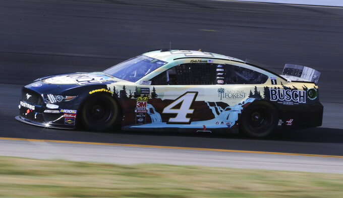 Kevin Harvick heads down the front straight during a NASCAR Cup Series auto race at New Hampshire Motor Speedway in Loudon, N.H., Sunday, July 21, 2019. Harvick won the race. (AP Photo/Charles Krupa)