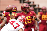 Iowa State quarterback Brock Purdy (15) throws a pass in front of Louisiana-Lafayette linebacker Jourdan Quibodeaux (43) during the first half of an NCAA college football game, Saturday, Sept. 12, 2020, in Ames, Iowa. (AP Photo/Charlie Neibergall)