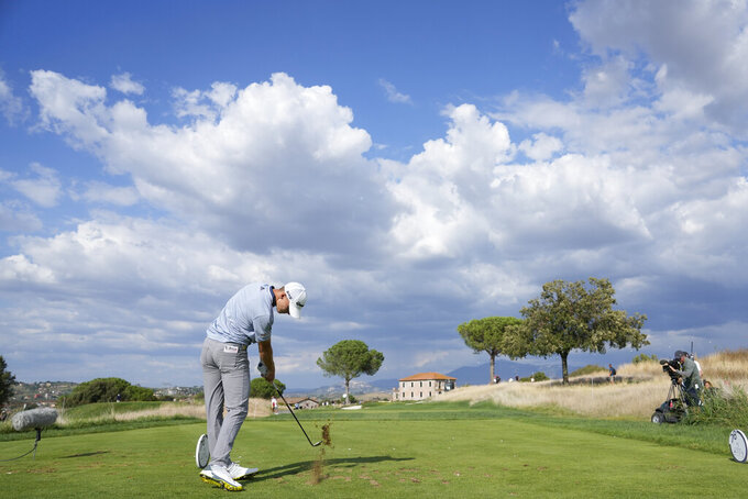 Nicolai Hojgaard of Denmark hits a tee shot during the fourth round of the Italian Open golf tournament, in Guidonia, in the outskirts of Rome, Sunday, Sept. 5, 2021. The Italian Open took place on the redesigned Marco Simone course just outside Rome that will host the 2023 Ryder Cup. (AP Photo/Andrew Medichini)