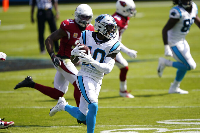 Carolina Panthers wide receiver Curtis Samuel runs against the Arizona Cardinals during the first half of an NFL football game Sunday, Oct. 4, 2020, in Charlotte, N.C. (AP Photo/Brian Blanco)