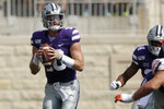 Kansas State quarterback Skylar Thompson (10) looks for a receiver during the first half of an NCAA college football game against Bowling Green Saturday, Sept. 7, 2019, in Manhattan, Kan. (AP Photo/Charlie Riedel)