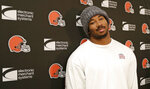 Cleveland Browns defensive end Myles Garrett answers questions during a news conference at the NFL football team's training camp facility, Monday, Dec. 31, 2018, in Berea, Ohio. Browns interim coach Gregg Williams will be the first candidate interviewed for Cleveland's permanent position. Williams led Cleveland to a 5-3 record after Hue Jackson was fired on Oct. 29. Dorsey said Williams, the team's defensive coordinator for the past two seasons, will have his interview Tuesday. (AP Photo/Tony Dejak)