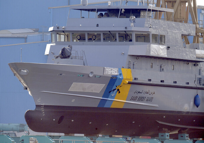 File -- In this Friday, May 17, 2019 photo a training ship for Saudi Arabia's border guard is pictured at the Peene shipyard in Wolgast, northern Germany. The German government extended the export ban on military equipment for Saudia Arabia until March 31, 2020. (Stefan Sauer/dpa via AP, file)