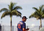 Houston Astros pitcher Justin Verlander (35) watches before throwing during spring training baseball practice, Tuesday, Feb. 18, 2020 in West Palm Beach, Fla. (Karen Warren/Houston Chronicle via AP)