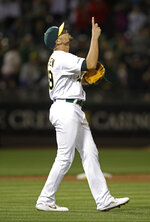 Oakland Athletics' Blake Treinen celebrates the 3-2 win over the Baltimore Orioles at the end of a baseball game, Monday, June 17, 2019, in Oakland, Calif. (AP Photo/Ben Margot)