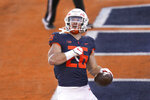 Illinois running back Mike Epstein (26) celebrates after scoring during the first half of an NCAA college football game against Minnesota Saturday, Nov. 7, 2020, in Champaign, Ill. (AP Photo/Charles Rex Arbogast)