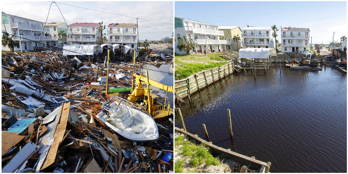 In this combination of photos, homes sit along a canal on Oct. 11, 2018, left, in the aftermath of Hurricane Michael, and on May 3, 2019, in Mexico Beach, Fla. (AP Photos)