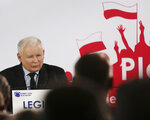 In this photo taken Thursday Sept. 26, 2019 Poland's ruling right-wing party leader Jaroslaw Kaczynski speaks at a convention in Legionowo, Poland, ahead of Sunday parliamentary election in which his Law and Justice party is hoping to win a second term in power. (AP Photo/Czarek Sokolowski)