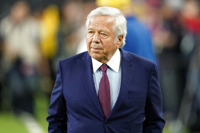 FILE - In this Dec. 1, 2019, file photo, New England Patriots owner Robert Kraft an NFL football game in Houston. A video recording of Kraft and other men allegedly engaging in massage parlor sex will be returned to prosecutors for destruction, a Florida judge ruled Friday, July 30, 2021, ending a two-year saga that tarnished the reputation of one of football's most successful luminaries.  (AP Photo/David J. Phillip, File)