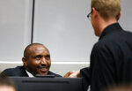 Congolese militia commander Bosco Ntaganda sits in the courtroom of the ICC (International Criminal Court) during his trial at the Hague in the Netherlands, Monday July 8, 2019. The ICC is expected to pass judgement Monday on Ntaganda, accused of overseeing the slaughter of civilians by his soldiers in the Democratic Republic of Congo in 2002 and 2003. (Eva Plevier/Pool via AP)