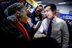 Democratic presidential candidate former South Bend, Ind., Mayor Pete Buttigieg, speaks with a member of the audience at a campaign stop at the Madison County Fairgrounds, Monday, Jan. 13, 2020, in Winterset, Iowa. (AP Photo/Andrew Harnik)