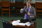 State Sen. Bryan Hughes, R-Mineola, discusses the GOP voting and elections bill at the Capitol in Austin, Texas on Tuesday, Aug. 31, 2021. (Mikala Compton/Austin American-Statesman via AP)