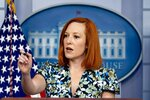White House press secretary Jen Psaki calls on a reporter during a press briefing in the White House in Washington, Friday, April 16, 2021. (AP Photo/Andrew Harnik)