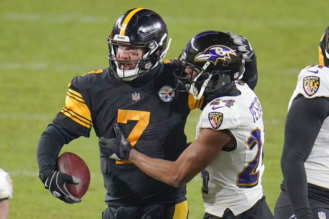 Pittsburgh Steelers quarterback Ben Roethlisberger (7) greets Baltimore Ravens cornerback Marcus Peters (24) after an NFL football game Wednesday, Dec 2, 2020, in Pittsburgh. The Steelers won 19-14. (AP Photo/Gene J. Puskar)