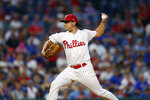 Philadelphia Phillies' Jason Vargas pitches during the third inning of a baseball game against the Chicago Cubs, Tuesday, Aug. 13, 2019, in Philadelphia. (AP Photo/Matt Slocum)