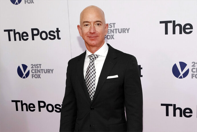 FILE - In this Dec. 14, 2017, file photo, Jeff Bezos attends the premiere of
