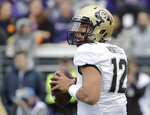 Colorado quarterback Steven Montez looks to pass against Washington during the first half of an NCAA college football game, Saturday, Oct. 20, 2018, in Seattle. (AP Photo/Ted S. Warren)