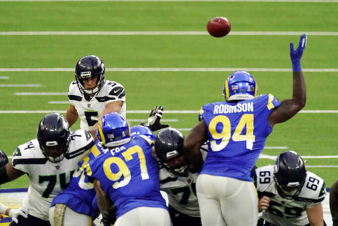 Seattle Seahawks kicker Jason Myers (5) makes a 61-yard field goal during the second half of an NFL football game against the Los Angeles Rams, Sunday, Nov. 15, 2020, in Inglewood, Calif. (AP Photo/Jae C. Hong)