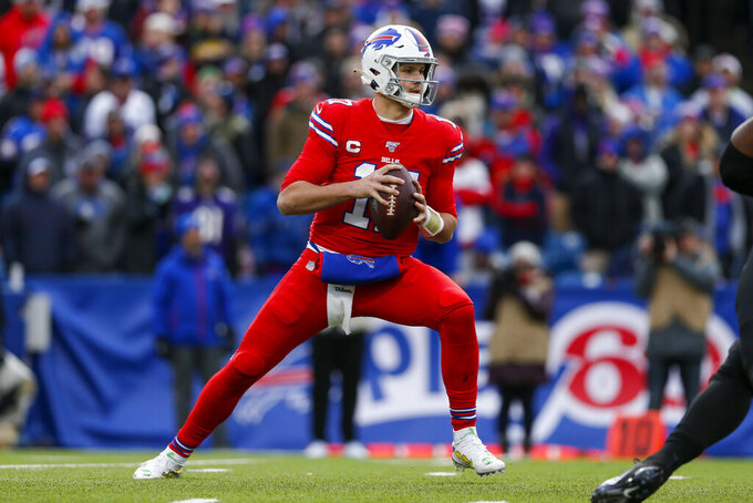 Buffalo Bills quarterback Josh Allen (17) looks to pass during the second half of an NFL football game against the Baltimore Ravens in Orchard Park, N.Y., Sunday, Dec. 8, 2019. (AP Photo/John Munson)