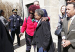 Chicago Mayor-elect Lori Lightfoot poses for a photo with supporter Carolyn J. Ruff, following a press conference at the Rainbow PUSH organization, Wednesday, April 3, 2019, in Chicago.(AP Photo/Nuccio DiNuzzo)