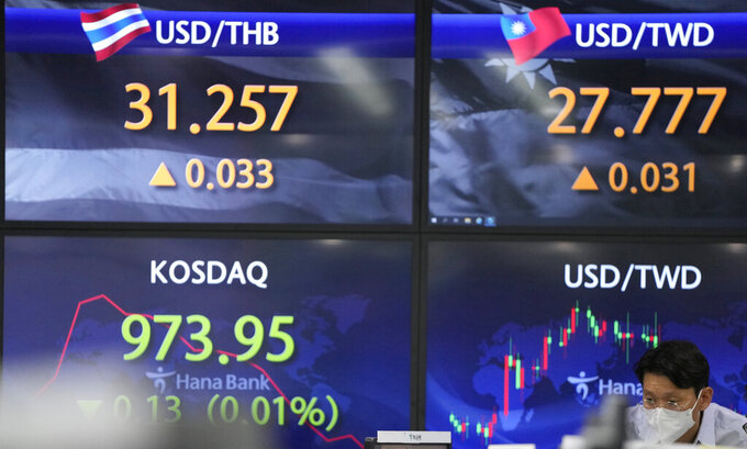 A currency trader watches computer monitors near the screens showing the Korean Securities Dealers Automated Quotations (KOSDAQ), left, and the foreign exchange rates at the foreign exchange dealing room in Seoul, South Korea, Friday, May 28, 2021. Asian shares rose Friday, powered by encouraging signs that the U.S. economic recovery from the pandemic is gaining momentum. (AP Photo/Lee Jin-man)