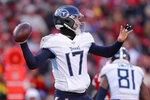 Tennessee Titans' Ryan Tannehill throws during the first half of the NFL AFC Championship football game against the Kansas City Chiefs Sunday, Jan. 19, 2020, in Kansas City, MO. (AP Photo/Jeff Roberson)