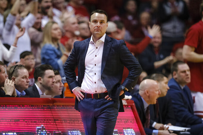 Indiana head coach Archie Miller walks the sideline as his team played Wisconsin in the first half of an NCAA college basketball game in Bloomington, Ind., Saturday, March 7, 2020. Wisconsin won 60-56. (AP Photo/AJ Mast)